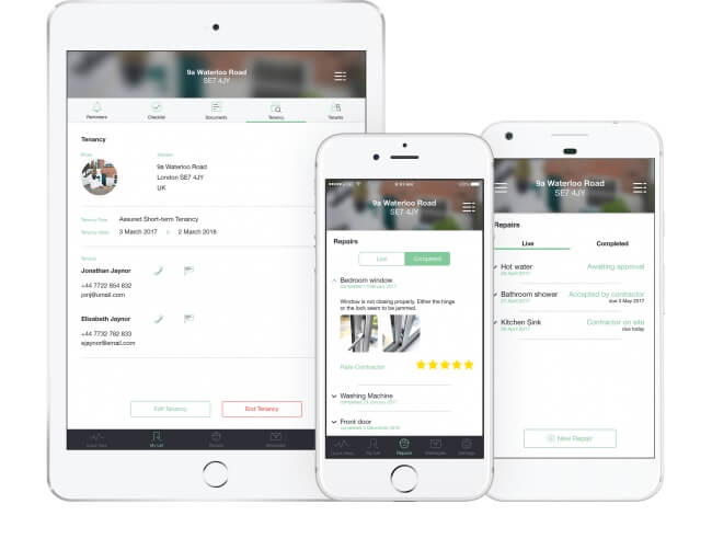Landlord Property Management App Screen Views